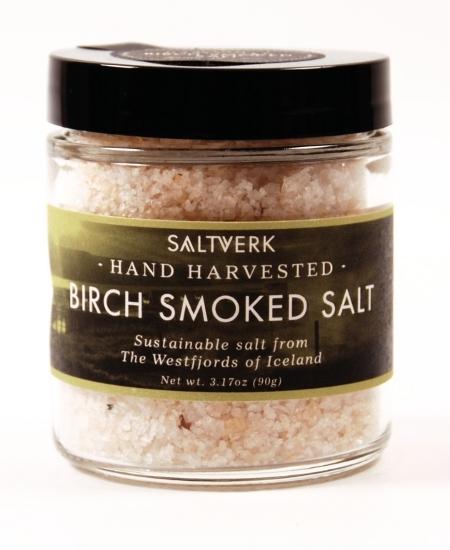BIRCH SMOKED SALT, grobes handverlesen Salz aus Island über Birkenholz geräuchert